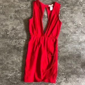 A'GACI Super Deep V Red Mini Dress | Size Small